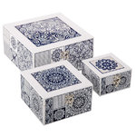 BLUE CERAMIC TRIBAL BOXES