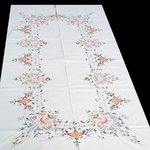 LINEN TABLECLOTH MULTICOLORED EMBROIDERY
