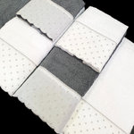 GREY/WHITE DOTS LACE TOWELS