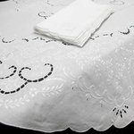 OVAL EMBROIDERED LINEN TABLECLOTH