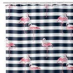 LINES AND FLAMENCOS BATH/SHOWER CURTAIN