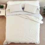 EMBROIDERED SQUARES WHITE DUVET COVER